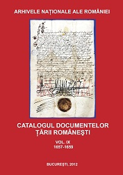 Catalogue of the documents of Wallachia. Vol. IX, 1657-1659 Cover Image