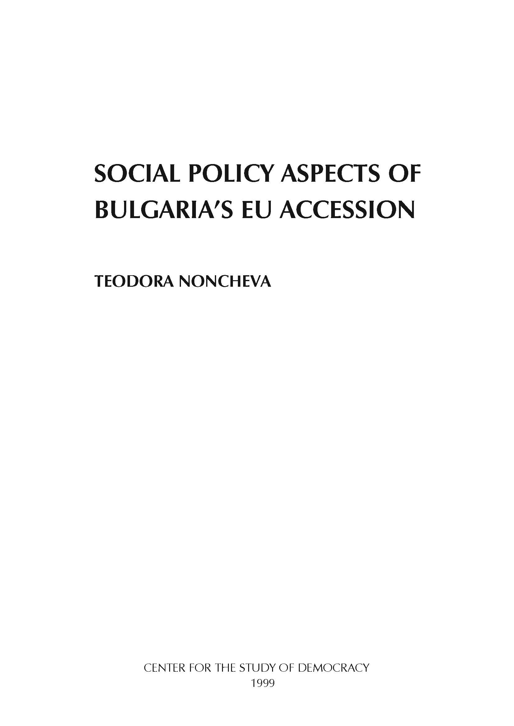 #02 Social Policy Aspects of Bulgaria's EU Accession