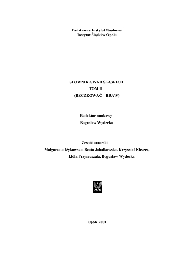 A Dictionary of Silesian Dialects, volume II (BECZKOWAĆ-BRAW) Cover Image