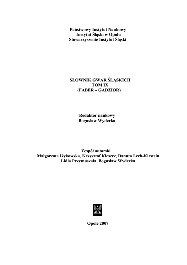 A Dictionary of Silesian Dialects, volume IX (FABER - GADZIOR) Cover Image