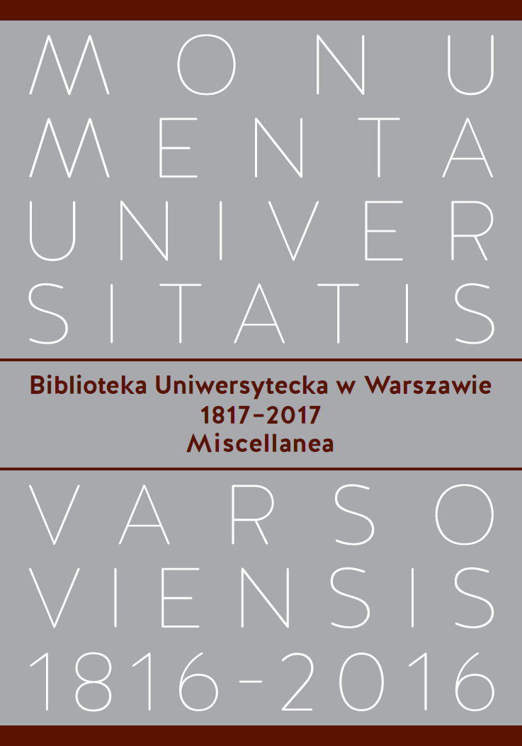 The University of Warsaw Library 1817–2017. Miscellanea Cover Image