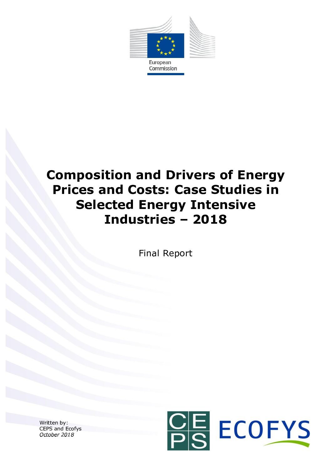 Composition and Drivers of Energy Prices and Costs: Case Studies in Selected Energy Intensive Industries – 2018