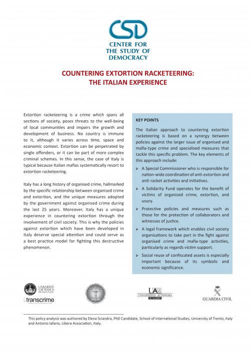 Countering Extortion Racketeering: The Italian Experience
