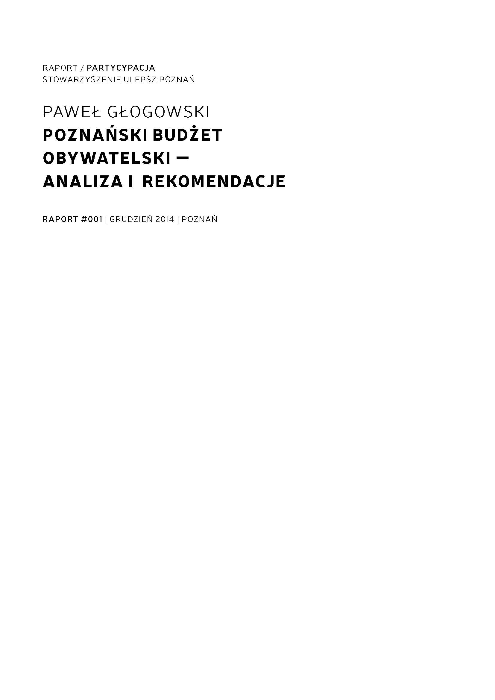 Poznan Participatory Budget - Analysis and Recommendations Cover Image