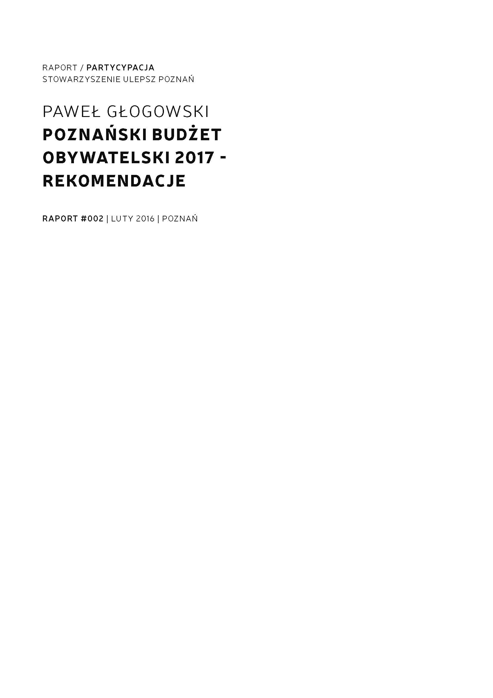 Poznan Participatory Budget 2017 - Recommendations Cover Image