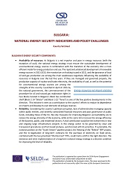 Bulgaria: National Energy Security Indicators and Policy Challenges