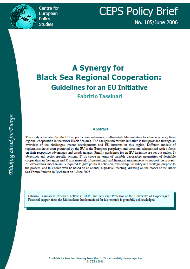 №105. A Synergy for Black Sea Regional Cooperation: