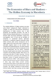 Hidden Economy in Macedonia Policy Brief 1: The Economics of Blurs and Shadows – The Hidden Economy in Macedonia