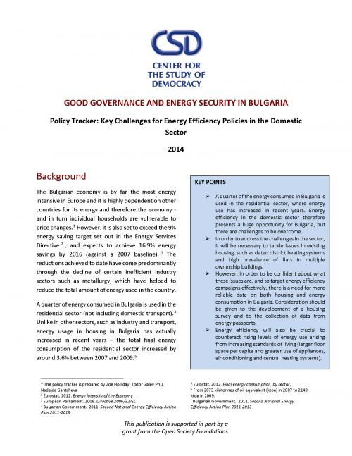 Policy Tracker: Key Challenges for Energy Efficiency Policies in the Domestic Sector