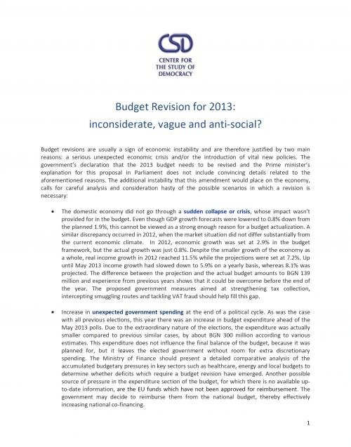 Media note: Budget Revision for 2013: inconsiderate, vague and anti-social?