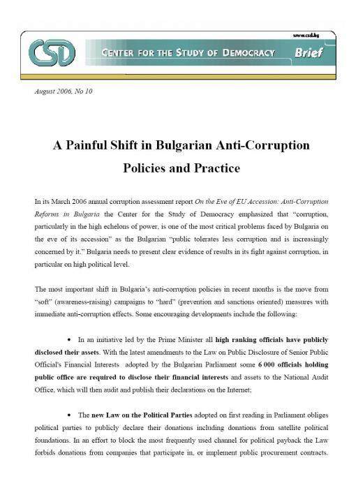 A Painful Shift in Bulgarian Anti-Corruption Policies and Practice