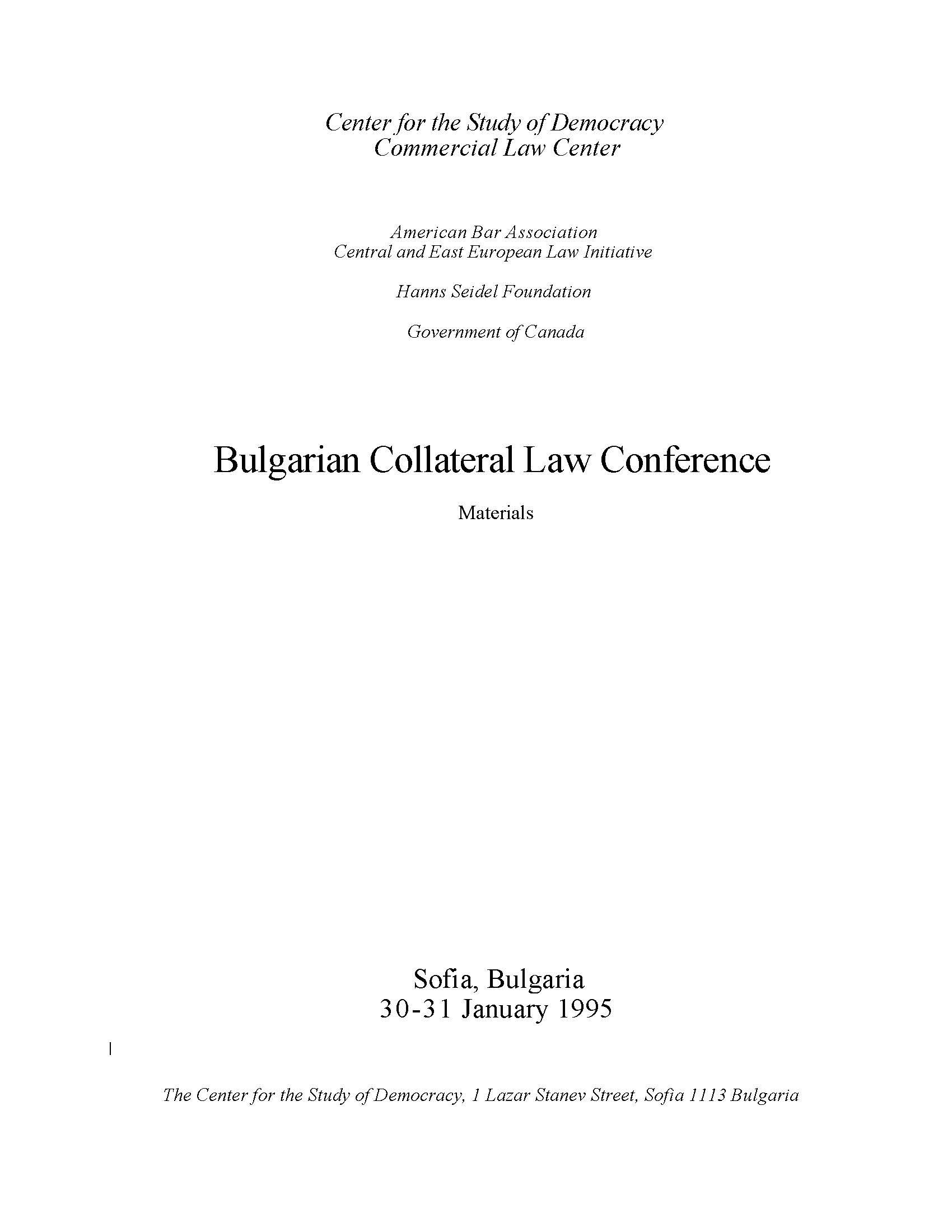Materials from the Bulgarian Collateral Law Conference Cover Image