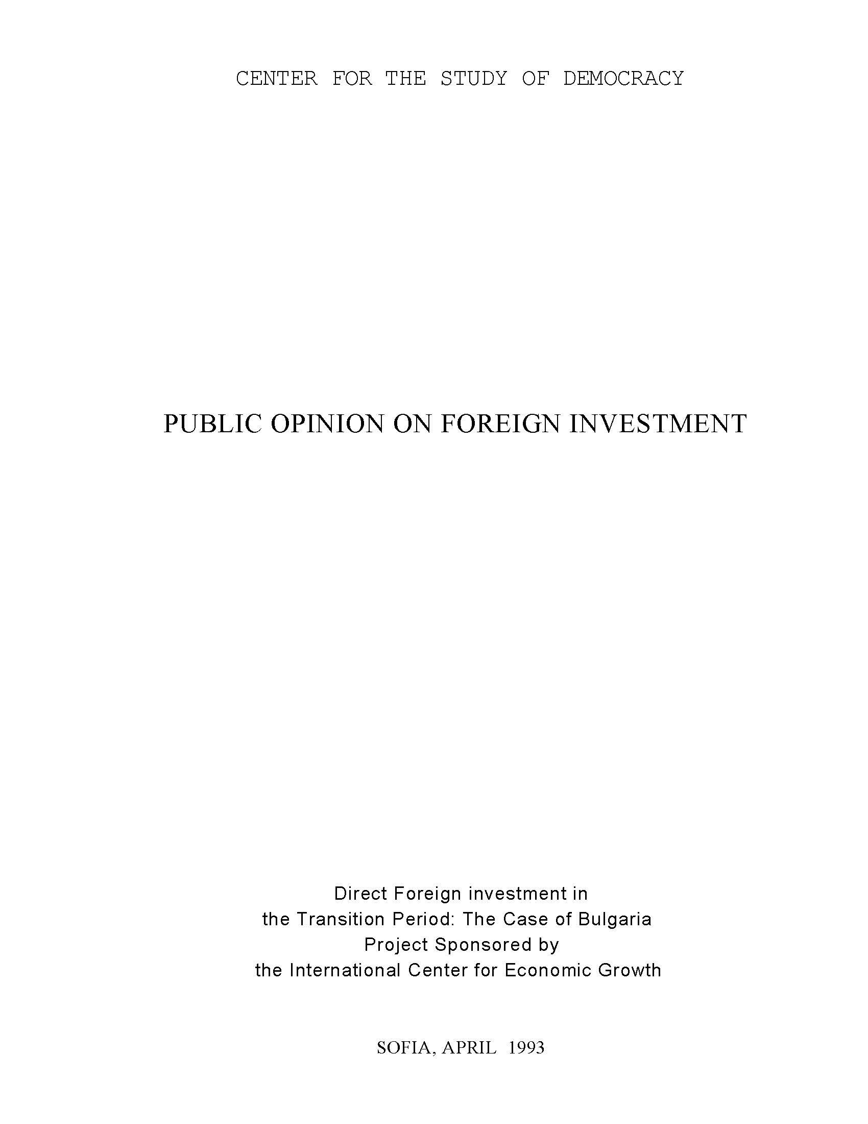 Public Opinion on Foreign Investment, April 1993