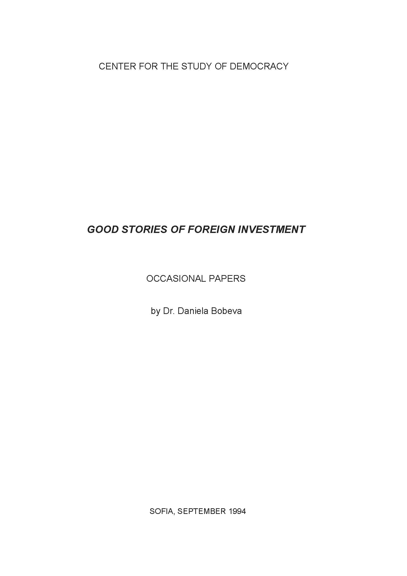 Good Stories of Foreign Investment