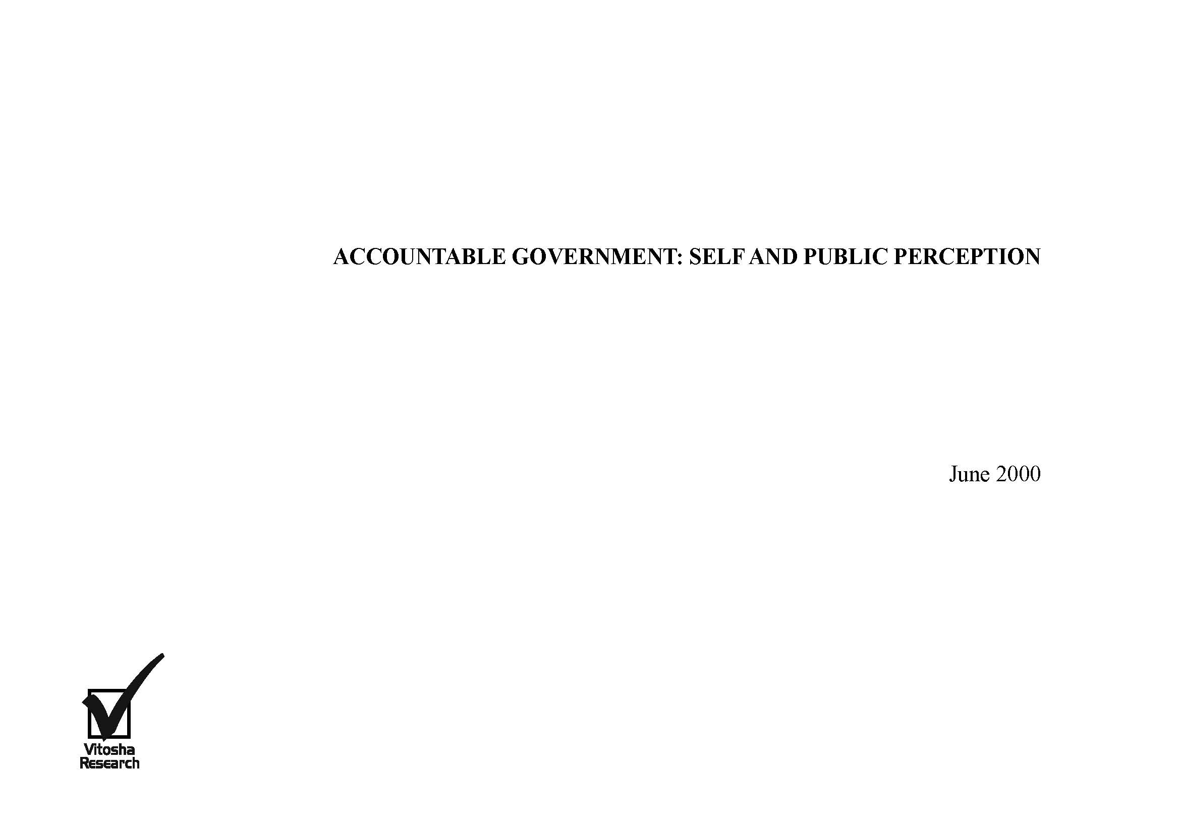 ACCOUNTABLE GOVERNMENT: SELF AND PUBLIC PERCEPTION Cover Image