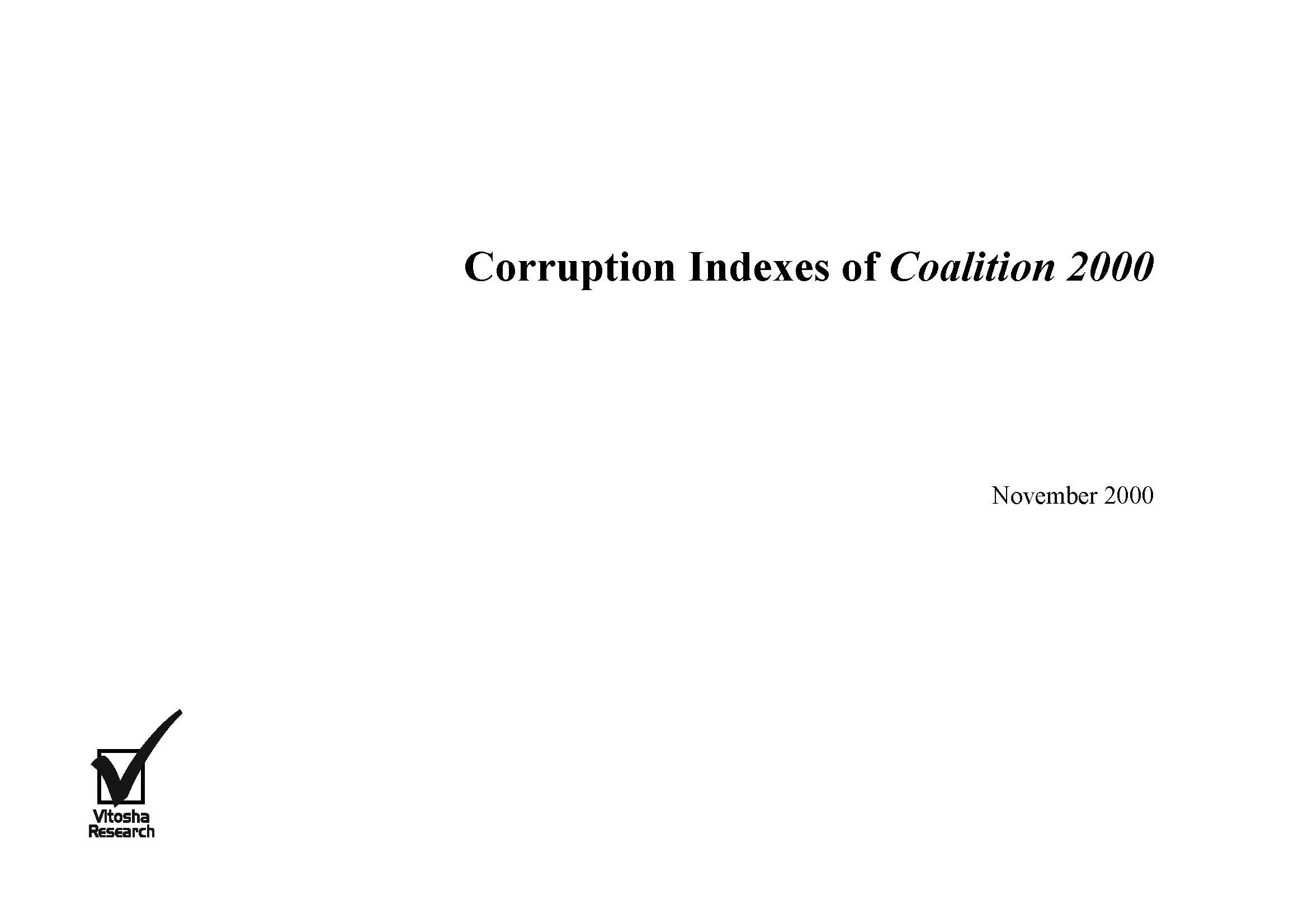 Corruption Indexes of Coalition 2000, November 2000