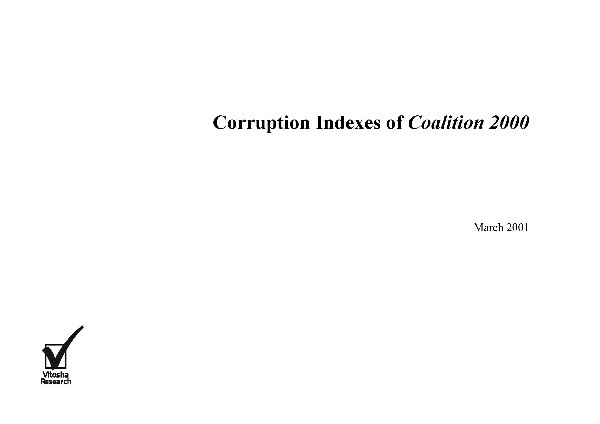 Corruption Indexes of Coalition 2000, March 2001