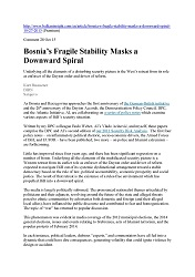 DPC BALKAN INSIGHT: Bosnia's Fragile Stability Masks a Downward Spiral.