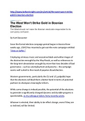 DPC BALKAN INSIGHT: The West Won't Strike Gold in Bosnian Election.