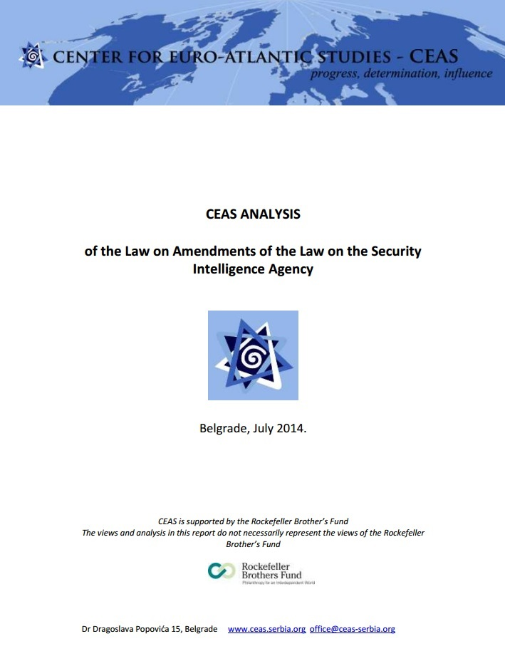 CEAS Analysis of the Law on Amendments of the Law on the Security Intelligence Agency