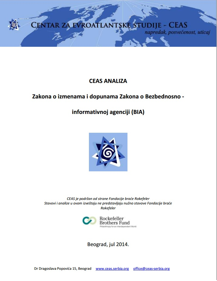 CEAS Analysis of the Law on Amendments of the Law on the Security Intelligence Agency Cover Image