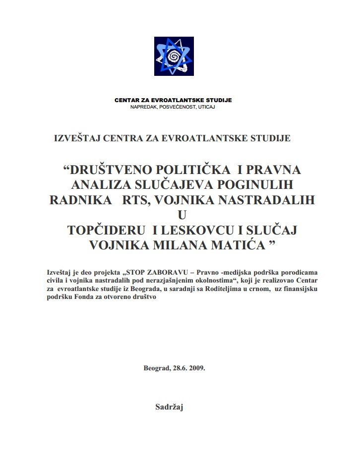 Political-media and Legal Analysis of Cases of RTS, Topčider, Leskovac and Matić Cover Image