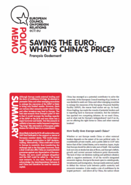 (045) SAVING THE EURO: WHAT'S CHINA'S PRICE?