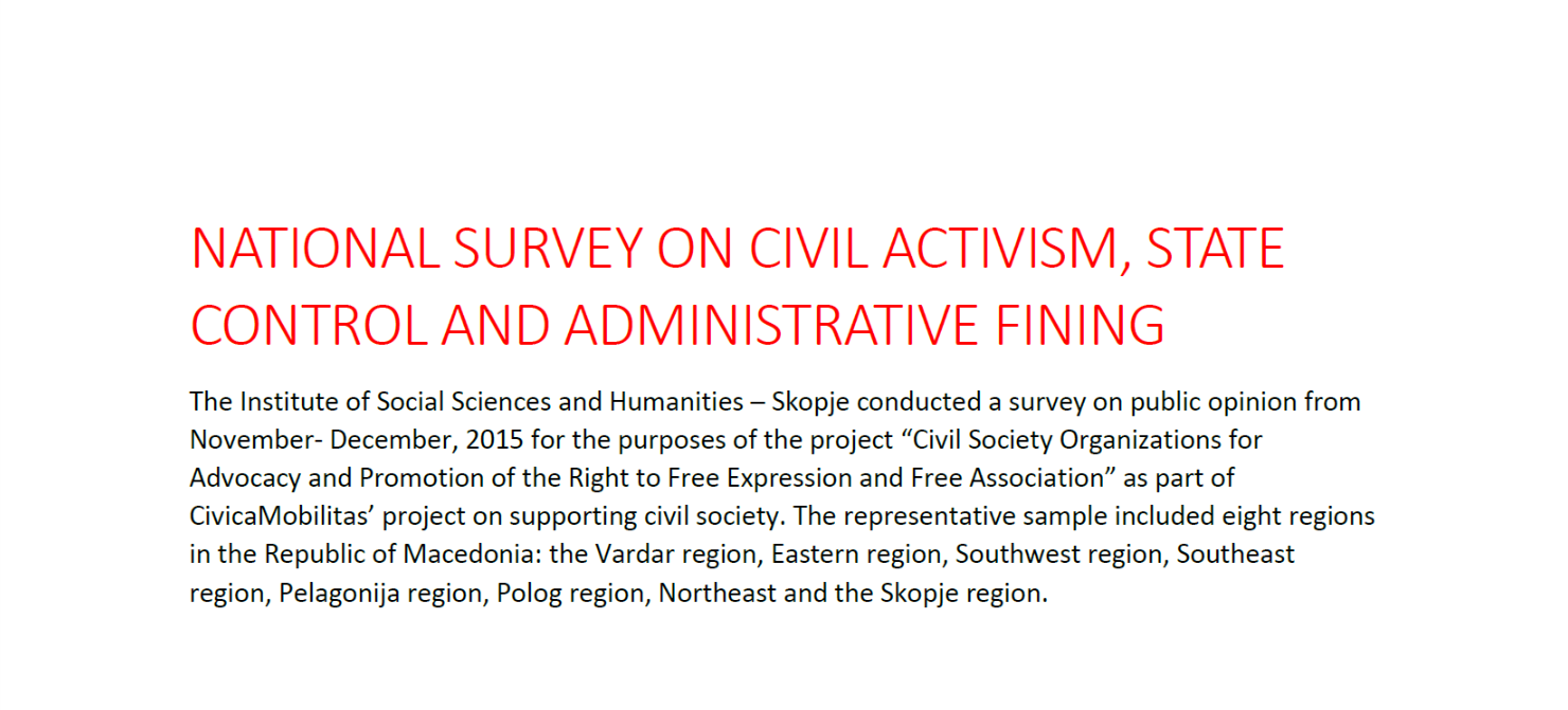 National Survey on Civil Activism, State Control and Administrative Fining