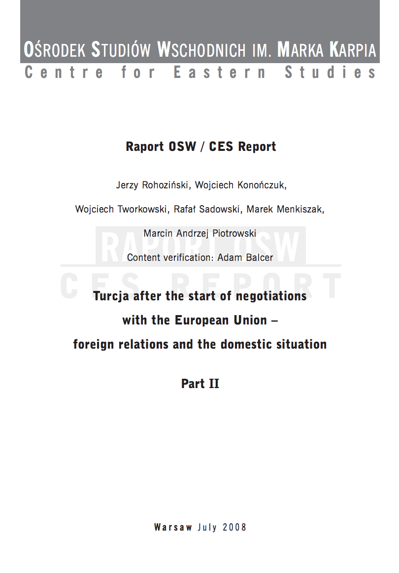 Turkey after the start of negotiations with the European Union - foreign relations and the domestic situation PART 2 Cover Image