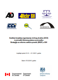 Annual Report on Civil Society Organizations' (CSOs) implementation of the Action Plan for Implementation of the Justice Sector Reform Strategy (JSRS) in BiH Cover Image