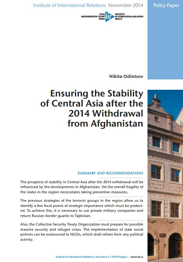 Ensuring the Stability of Central Asia after the 2014 Withdrawal from Afghanistan