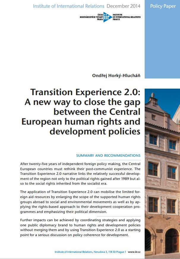 Transition Experience 2.0: A new way to close the gap between the Central European human rights and development policies