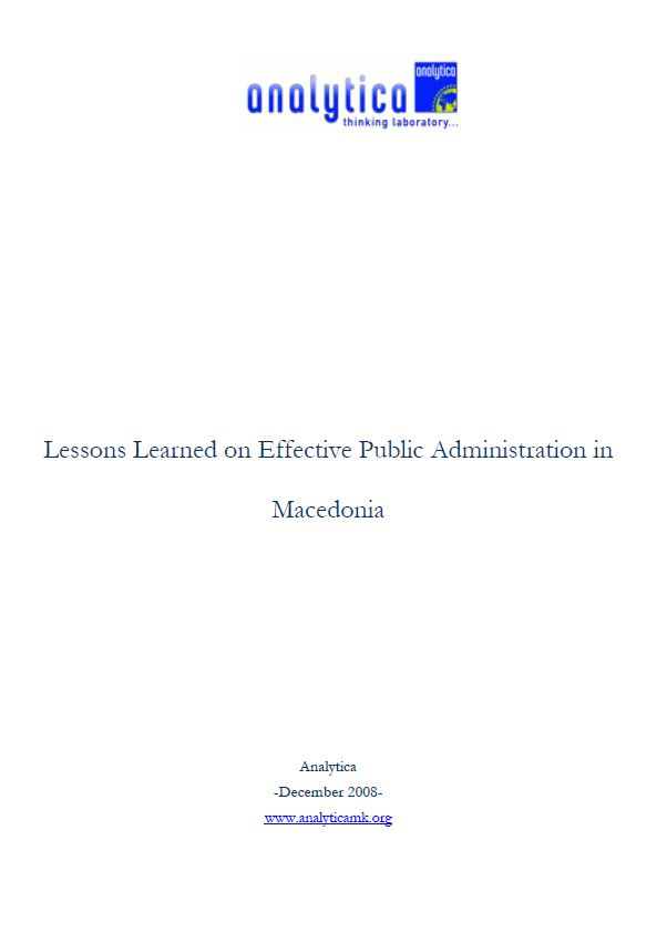 Lessons Learned on Effective Public Administration in Macedonia