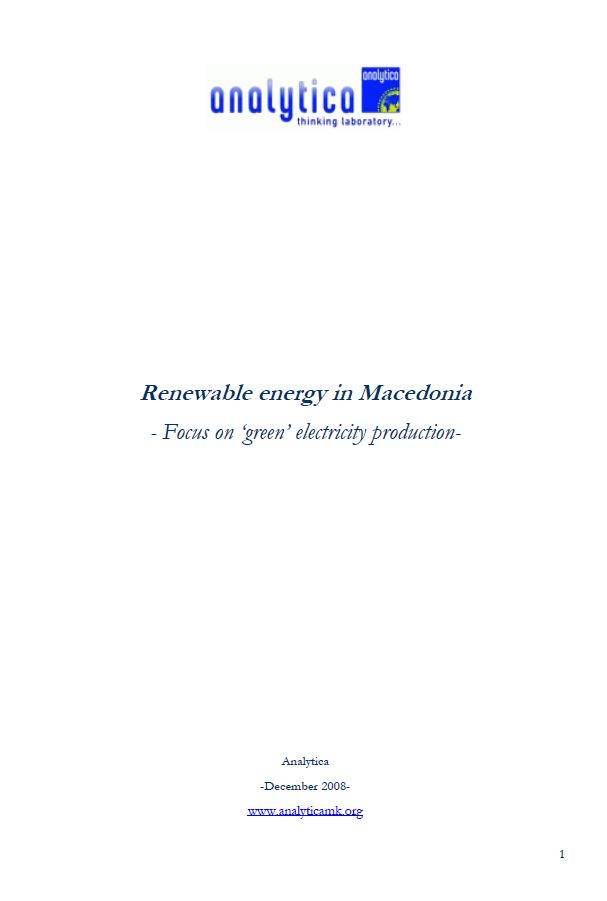 Renewable Energy in Macedonia – Focus on 'Green' Electricity Production