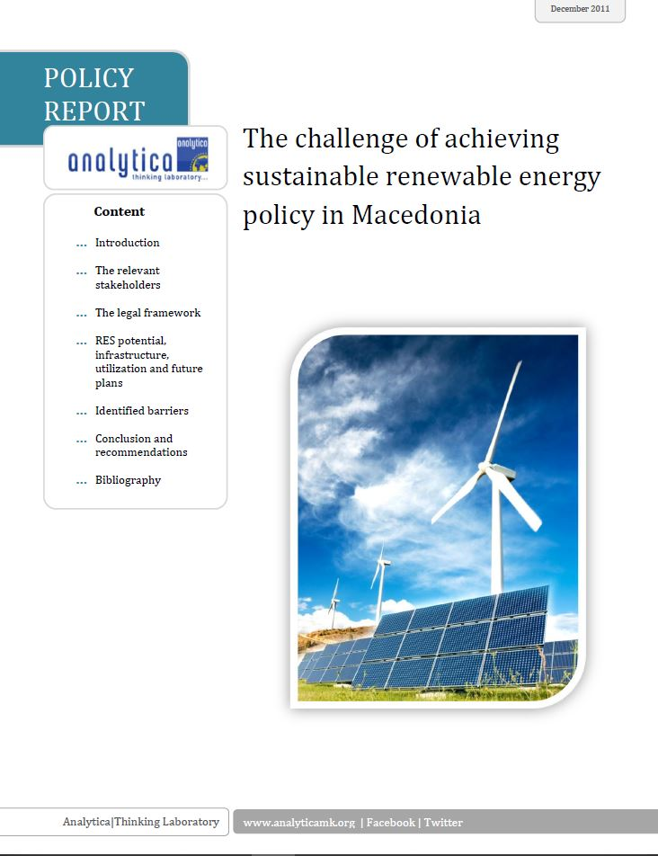 The Challenge of Achieving Sustainable Renewable Energy Policy in Macedonia Cover Image