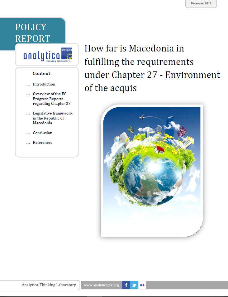 How far is Macedonia in fulfilling the requirements under Chapter 27 - Environment of the acquis