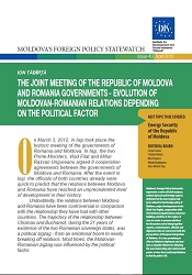 The joint Meeting of the Republic of Moldova and Romania Governments - Evolution of Moldovan-Romanian relations depending on the Political Factor