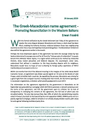 The Greek-Macedonian name agreement - Promoting Reconciliation in the Western Balkans