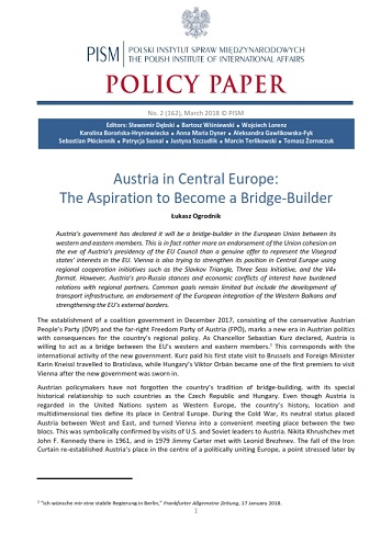 №162: Austria in Central Europe: The Aspiration to Become a Bridge-Builder Cover Image