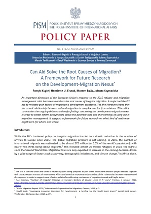 №176: Can Aid Solve the Root Causes of Migration? A Framework for Future Research on the Development-Migration Nexus