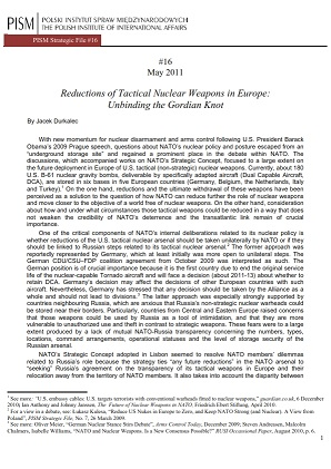 №16: Reductions of Tactical Nuclear Weapons in Europe: Unbinding the Gordian Knot