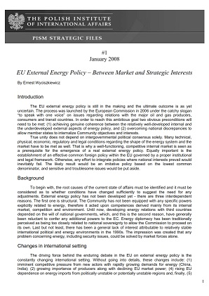 №1: EU External Energy Policy – Between Market and Strategic Interests