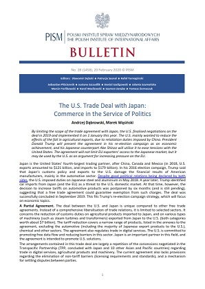 The U.S. Trade Deal with Japan: Commerce in the Service of Politics