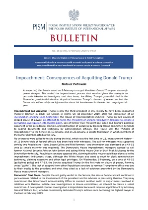 Impeachment: Consequences of Acquitting Donald Trump