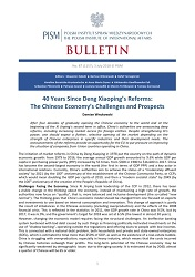 40 Years Since Deng Xiaoping's Reforms: The Chinese Economy's Challenges and Prospects