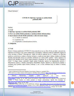 COVID-19 and Decision of the Personal Data Protection Agency in Bosnia and Herzegovina Cover Image