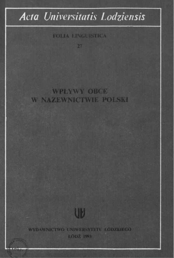 Stylistic analysis of terminology in Adam Mickiewicz' s The Books of the Polish People and of the Polish Pilgrimage Cover Image