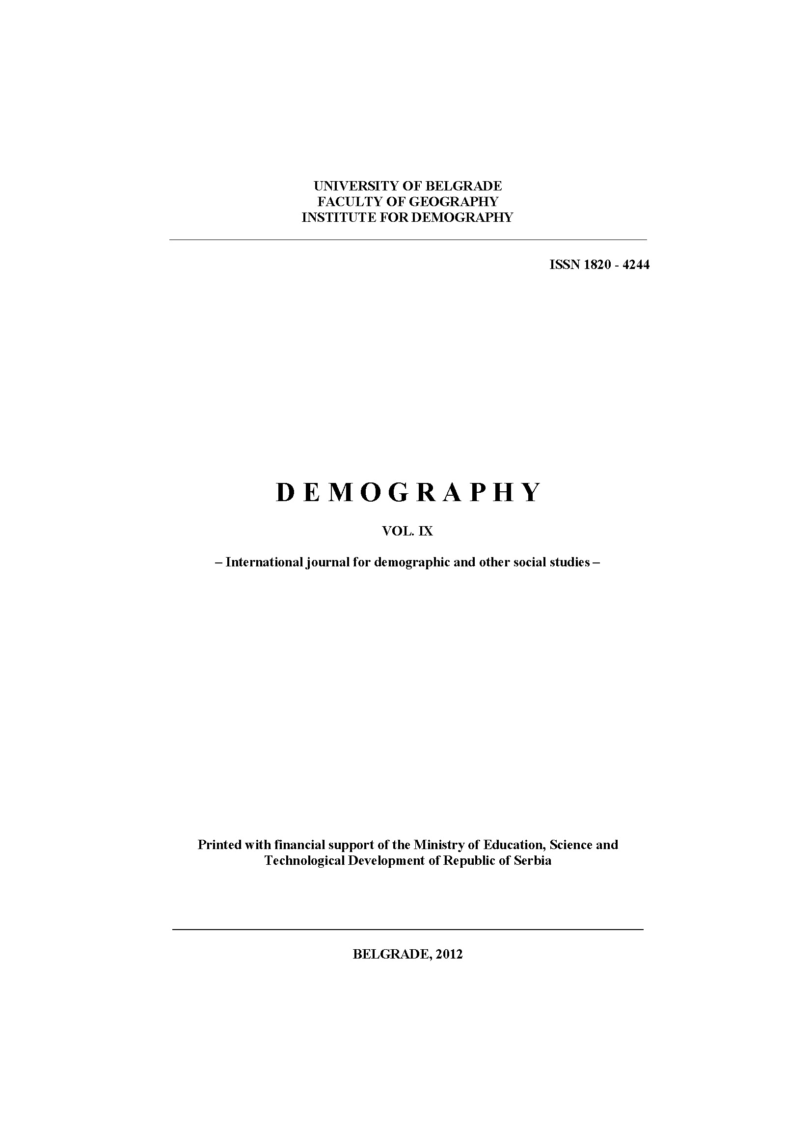 Changes in Mortality of the Republika Srpska Population in the Period 1996 to 2010 – Causes and Consequences Cover Image