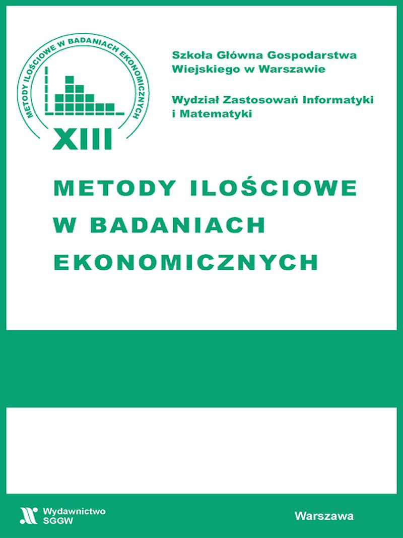 APPLICATION OF LOGISTIC REGRESSION IN THE SUBJECTIVE ASSESSMENT OF THE QUALITY OF LIFE OF POLES Cover Image