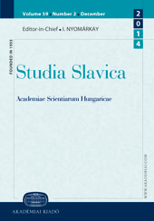 Tendencies and directions in the Hungarian historical Slavistik Cover Image